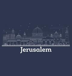 Outline jerusalem israel city skyline with white vector