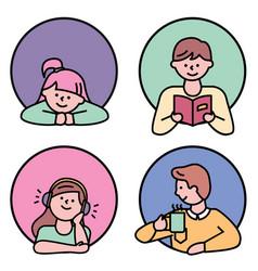 people avatar leisure icon set on white vector image