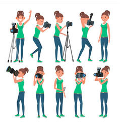 Photographer woman hotographer making vector