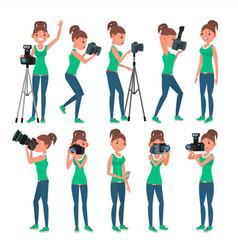 photographer woman hotographer making vector image