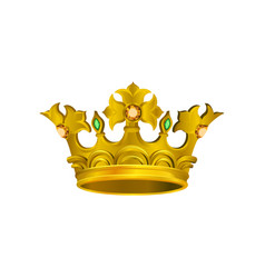 Realistic icon of medieval golden crown with vector