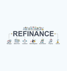 refinance banner web icon for financial and home vector image