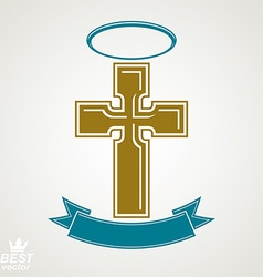 Religious cross emblem with nimbus and decorative vector