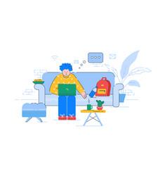 remote job e learning semi flat rgb color vector image