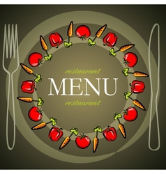 Restaurant menu design with tomatoes and carrots vector