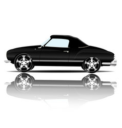 retro sport car black color white background vector image