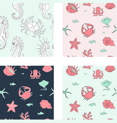seamless background with sea animals and elements vector image