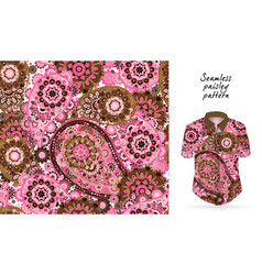 Seamless paisley background traditional indian vector