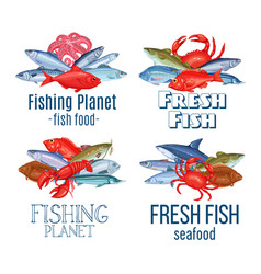 Set banners fish vector
