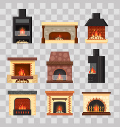 set different colorful home fireplaces with vector image