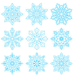 set four blue snowflakes vector image