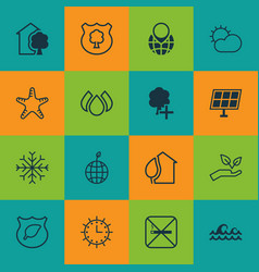 set of 16 ecology icons includes pin earth vector image