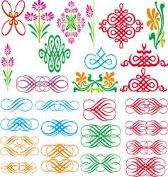 set of border and pattern vector image