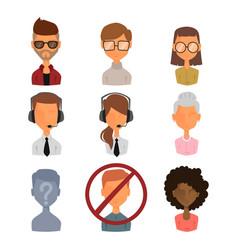 set of people portrait face icons web avatars flat vector image