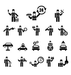 set of simple icons related to car vector image