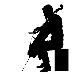 silhouettes a musician playing the cello on a vector image