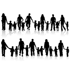 Silhouettes parents with children vector