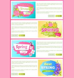 spring sale best offer set vector image