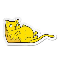 Sticker of a cartoon fat cat vector