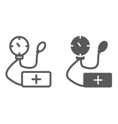 Tonometer line and glyph icon medicine and health vector