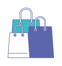 trapezoid shopping bag set with handle in blue and vector image