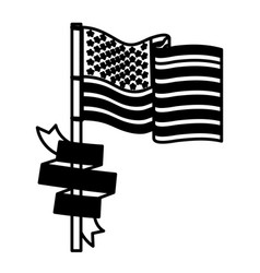 United states flag with ribbon in pole black vector