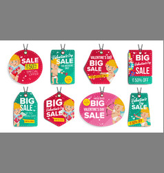 valentine s day sale tags flat february 14 vector image