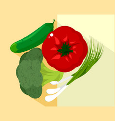vegetables and green onions vector image