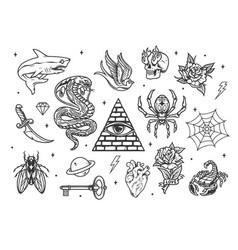 Vintage monochrome tattoos set vector