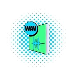 WAV file icon in comics style vector