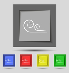 Wind icon sign on original five colored buttons vector