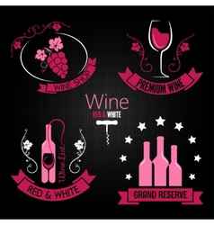 wine glass bottle label set vector image