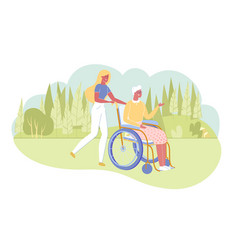 woman assisting disabled grandmother for walk vector image