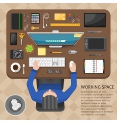 Working Space Top View Design vector