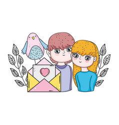 young lovers couple with envelope vector image