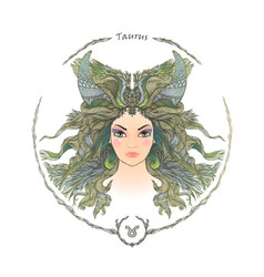 zodiac sign portrait of a woman taurus vector image