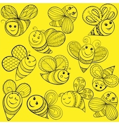 bees for adult coloring page Hand drawn vector image