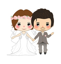 Bride and Groom Wedding Dress vector image vector image