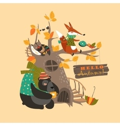 Funny animals on the autumn tree vector image vector image