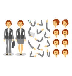 businesswoman character creation set icons with vector image vector image