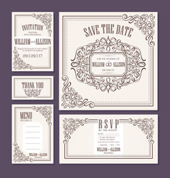 calligraphic vintage floral wedding cards vector image vector image