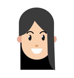 cartoon girl smile black hair vector image vector image