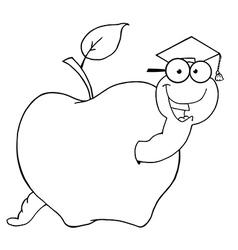 Cartoon worm graduate vector image vector image