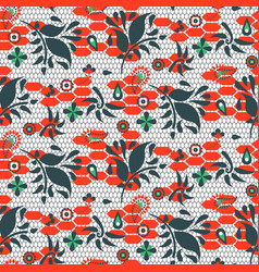 floral lace blue and red seamless pattern vector image vector image
