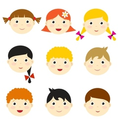 kid faces vector image