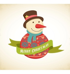 Christmas background with hipster snowman vector image