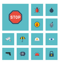 flat icons road sign explosive gun and other vector image vector image
