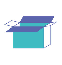 Opened cardboard box icon in blue and purple color vector