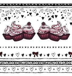 Romantic seamless pattern Valentine day Border vector image vector image