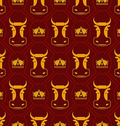 Royal beef seamless pattern cow and crown regal vector image